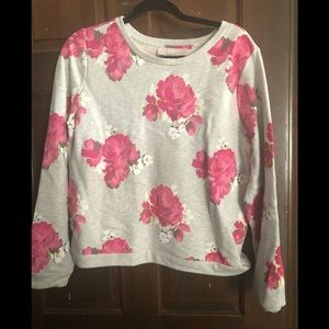 Loft Gray and pink floral sweatshirt